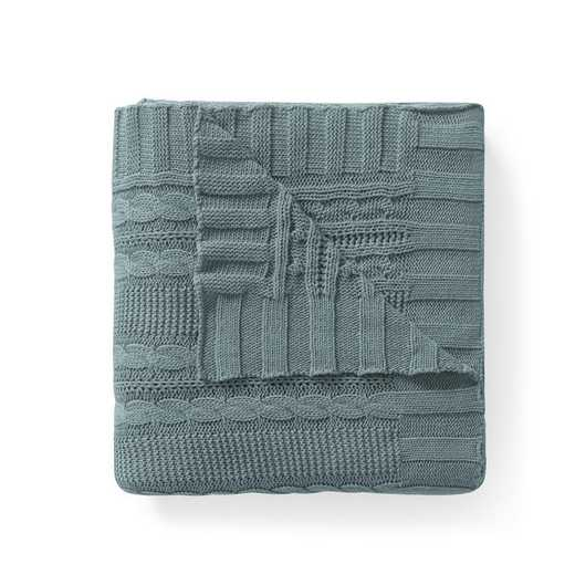 "DUI-THR-5070-BB-BLUE: VCNY Dublin Cable Knit Throw Blue, 50"" x 70"""
