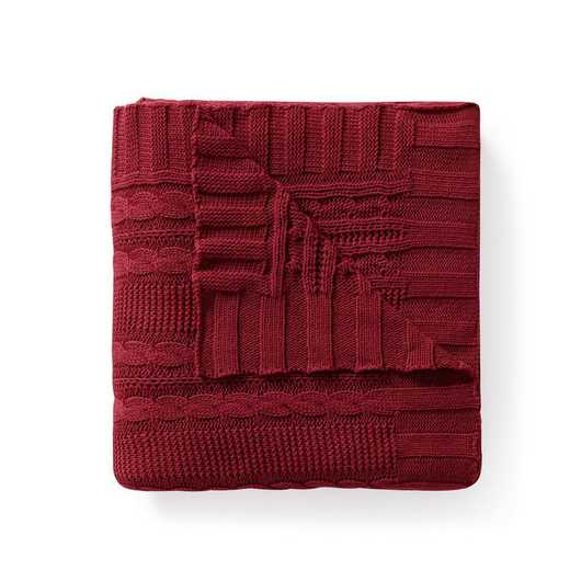 "DUI-THR-5070-BB-RED: VCNY Dublin Cable Knit Throw Red, 50"" x 70"""