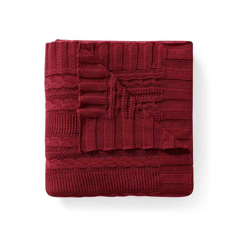 DUI-THR-5070-BB-RED: VCNY Dublin Cable Knit Throw Red, 50