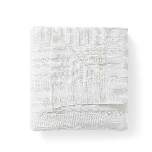 "DUI-THR-5070-BB-WHITE: VCNY Dublin Cable Knit Throw White, 50"" x 70"""