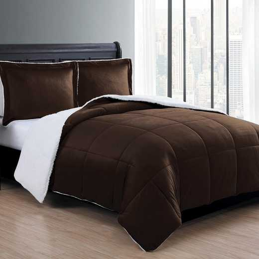 VCNY Home Micro Mink Sherpa Comforter Set Chocolate