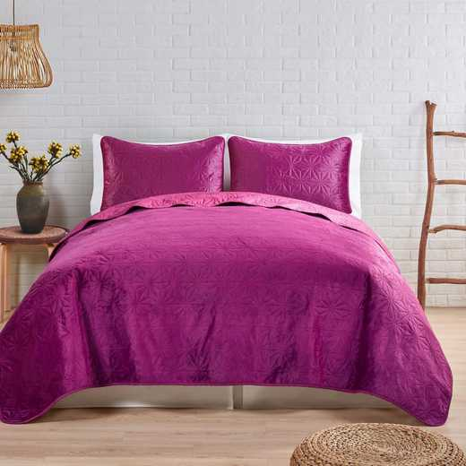 VCNY Home Solid Starburst Velvet Quilt Set -Raspberry