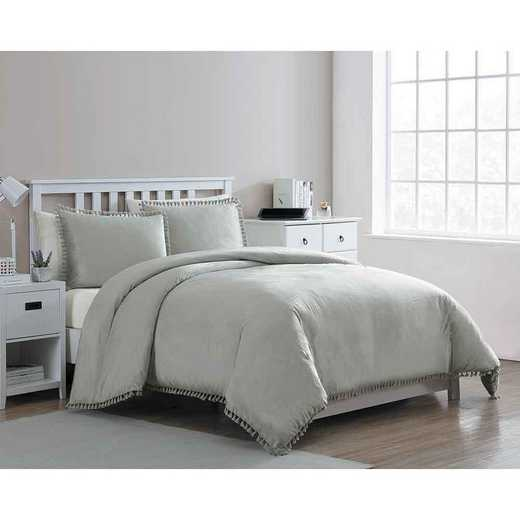 VCNY Home Giselle Velvet Tassle Duvet Set Grey