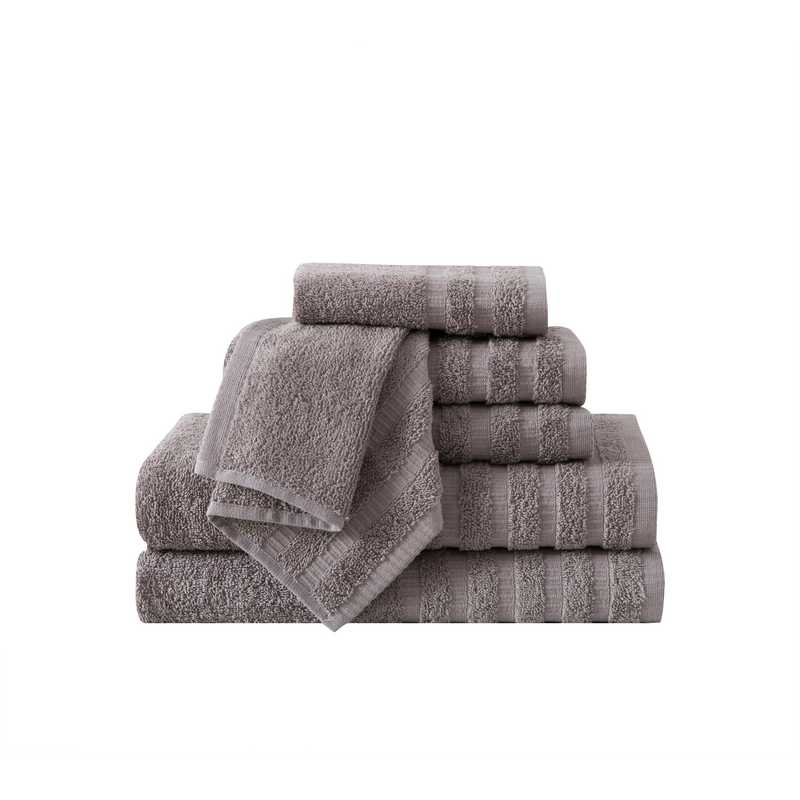WDR-TWL-6PCT-IN: VCNY Wide Ribbed Hotel  6PC Towel Set - Grey