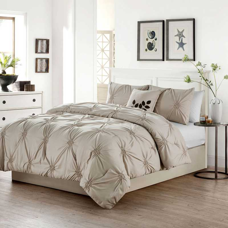 LND-4CS-QUEN-IN-TA: VCNY London 4PC Comforter ST Queen Taupe