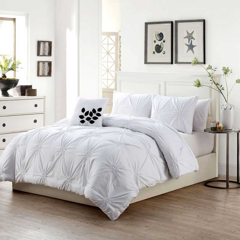 LND-4CS-QUEN-IN-WH: VCNY London 4PC Comforter ST Queen WHT