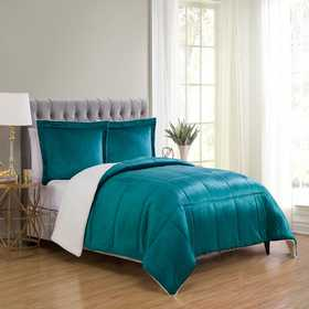 MMK-2CS-TWIN-IN-TL: VCNY Micro Mink Sherpa 2PC Comfr ST Teal