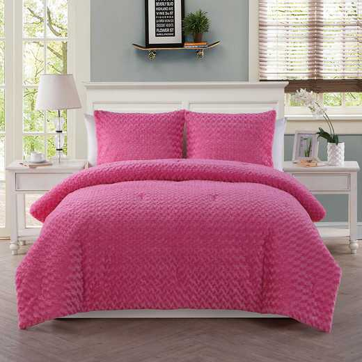Rose Fur Comforter Set- Pink