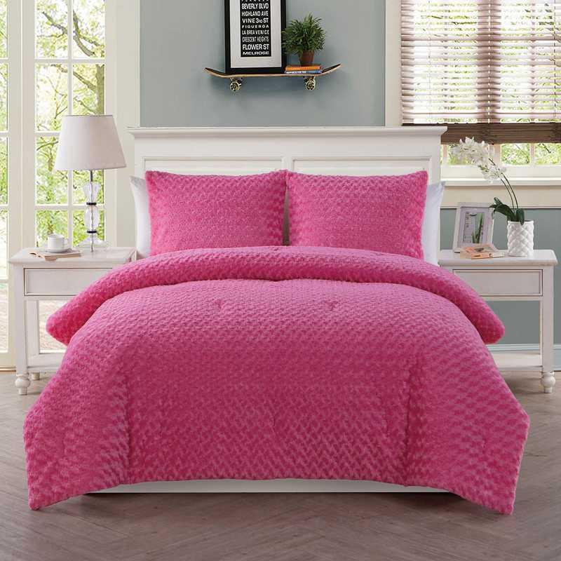 Rose Fur Comforter Set- Pink