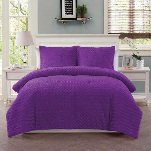 Rose Fur Comforter Set- Purple