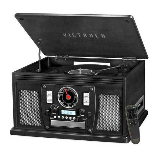 VTA-600B-BLK: IT Victrola Wood 8-in-1 Nostalgic BT Record Player, Black