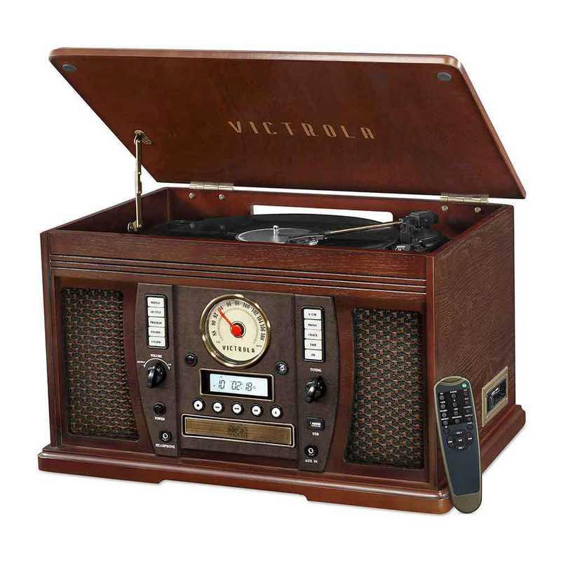 VTA-750B-ESP: IT Victrola Wood 7-in-1 Nostalgic BT Record Player, Expresso