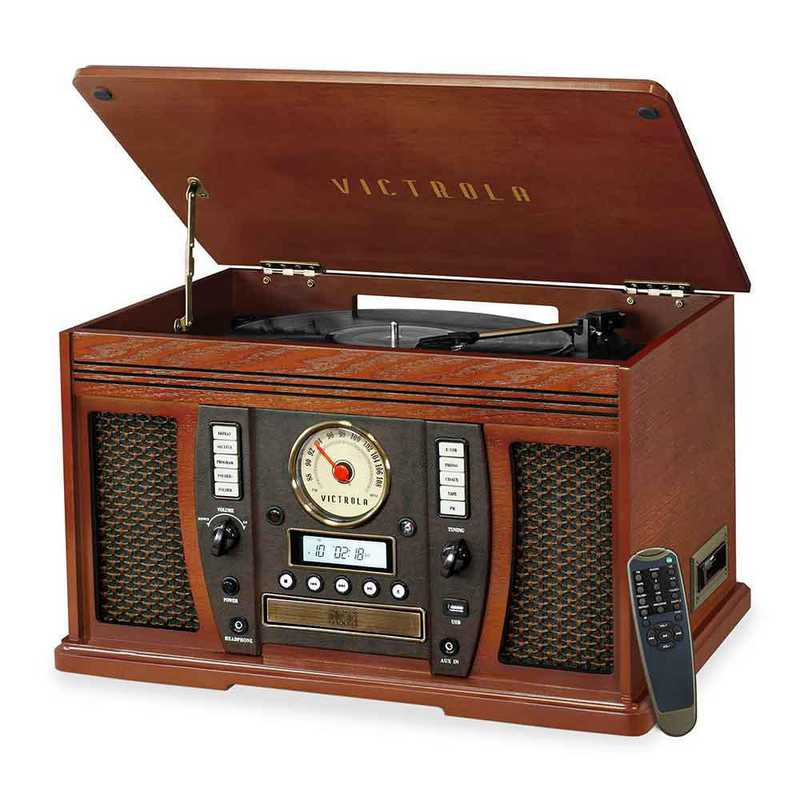 VTA-750B-MAH: IT Victrola Wood 7-in-1 Nostalgic BT Record Player, Mahogany