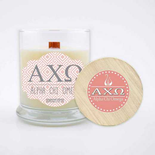 GRK-ACO-LSCC: (Citrus) large 8 oz candle with wood wick soy wax wood lid