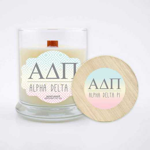 GRK-ADP-LSCP: (Peach) Large 8 oz candle with wood wick soy wax wood lid