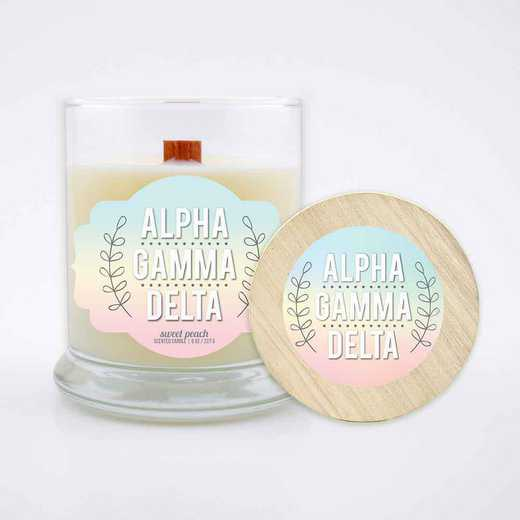 GRK-AGD-LSCP: (Peach) Large 8 oz candle with wood wick soy wax wood lid