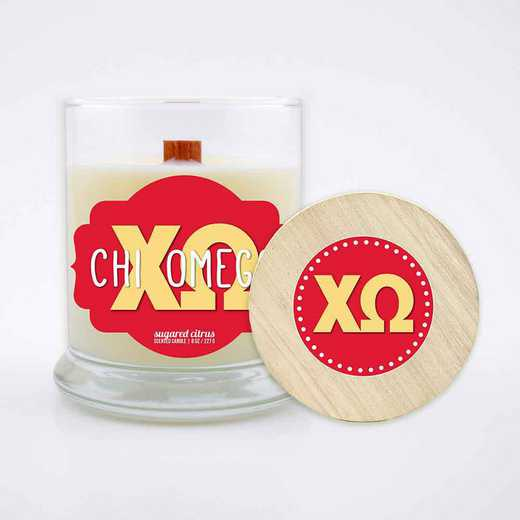 GRK-CO-LSCC: (Citrus) large 8 oz candle with wood wick soy wax wood lid