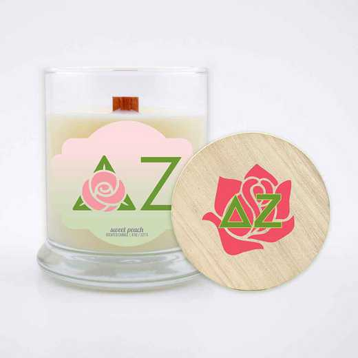 GRK-DZ-LSCP: (Peach) Large 8 oz candle with wood wick soy wax wood lid