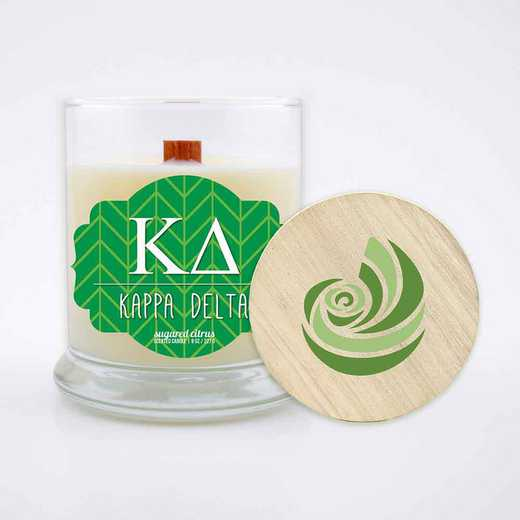 GRK-KD-LSCC: (Citrus) large 8 oz candle with wood wick soy wax wood lid
