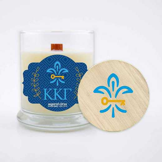 GRK-KKG-LSCC: (Citrus) large 8 oz candle with wood wick soy wax wood lid