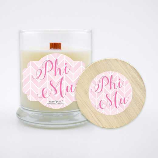GRK-PM-LSCP: (Peach) Large 8 oz candle with wood wick soy wax wood lid