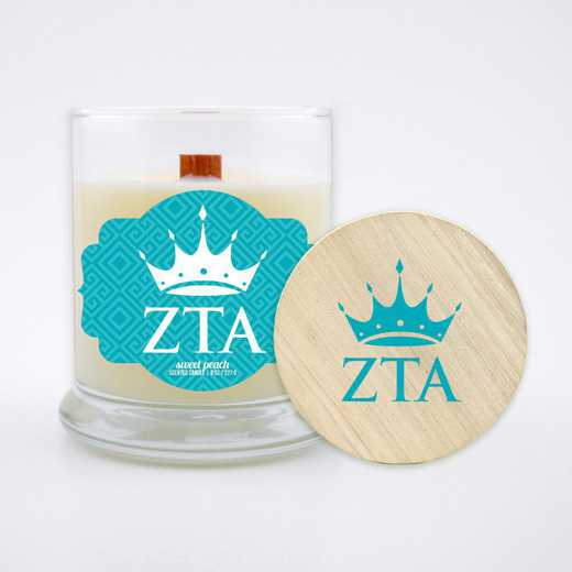 GRK-ZTA-LSCP: (Peach) Large 8 oz candle with wood wick soy wax wood lid