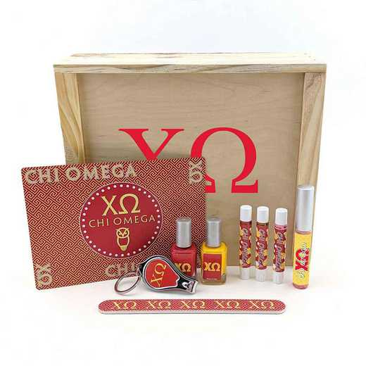 GRK-CO-SRGK: 2 polish, clipper, file, 3 shimmer, gloss, frame, wood box.