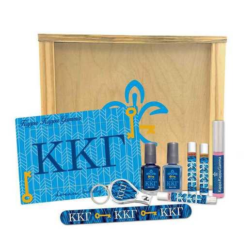 GRK-KKG-SRGK: 2 polish, clipper, file, 3 shimmer, gloss, frame, wood box.