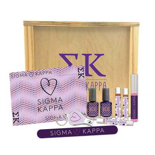 GRK-SK-SRGK: 2 polish, clipper, file, 3 shimmer, gloss, frame, wood box.