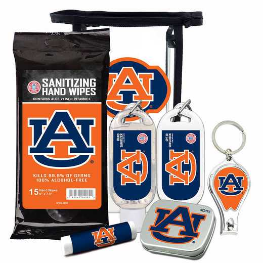 AL-AU-6PPK: Auburn Tigers Fan Kit with Mint Tin- Clippers- Sanitizer- Lip Balm- Sunscreen- Wipes