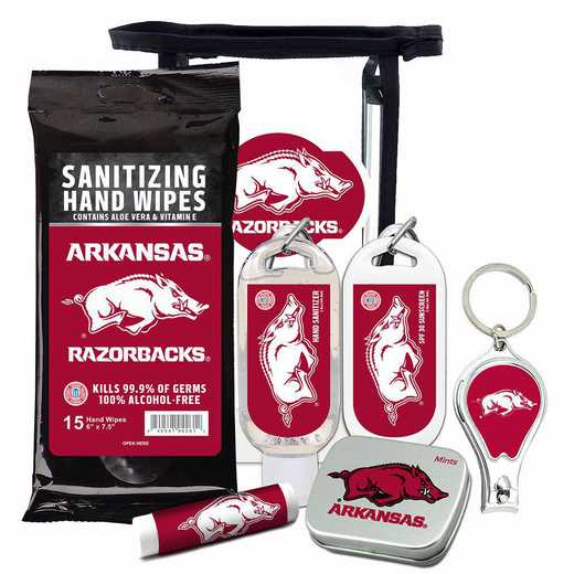 AR-UA-6PPK: Arkansas Razorbacks Fan Kit with Mint Tin- Clippers- Sanitizer- Lip Balm- Sunscreen- Wipes