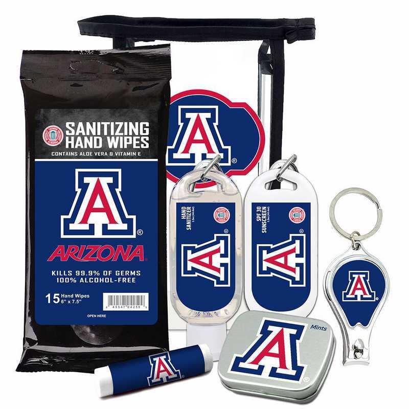 AZ-UA-6PPK: Arizona Wildcats Fan Kit with Mint Tin- Clippers- Sanitizer- Lip Balm- Sunscreen- Wipes