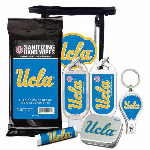 CA-UCLA-6PPK: UCLA Bruins Fan Kit with Mint Tin- Clippers- Sanitizer- Lip Balm- Sunscreen- Wipes