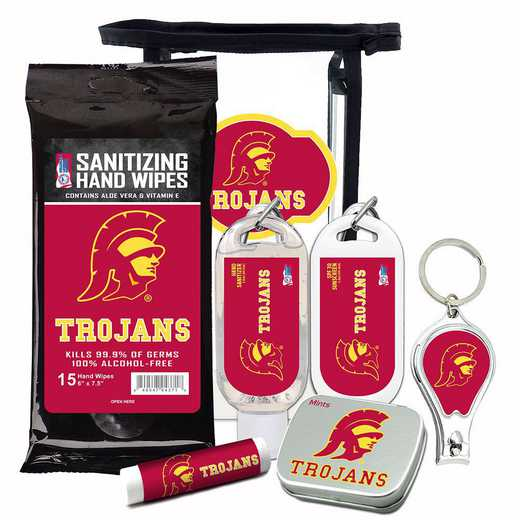 CA-USC-6PPK: USC Trojans Fan Kit with Mint Tin- Clippers- Sanitizer- Lip Balm- Sunscreen- Wipes