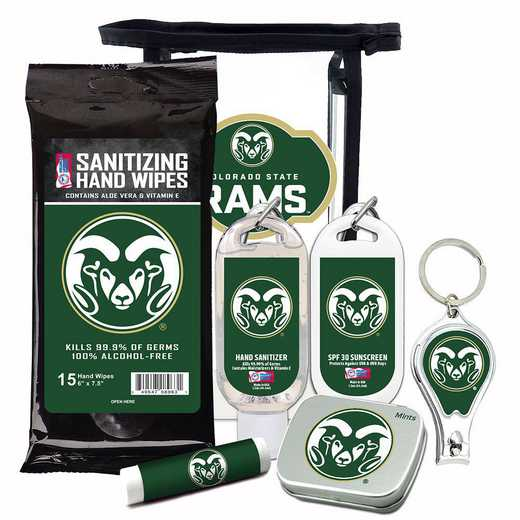 CO-CSU-6PPK: Colorado State Rams Fan Kit with Mint Tin- Clippers- Sanitizer- Lip Balm- Sunscreen- Wipes