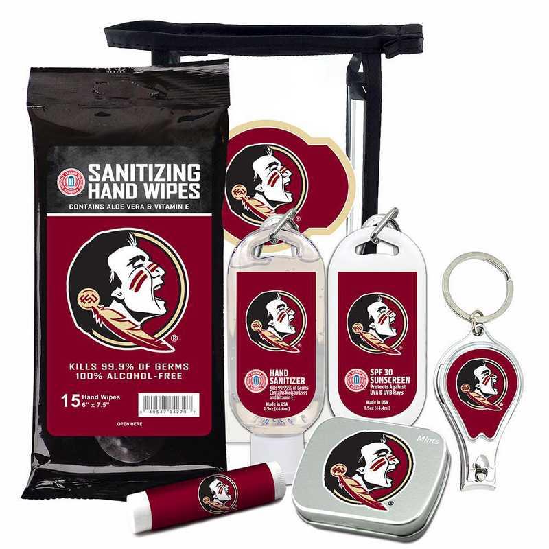 FL-FSU-6PPK: Florida State Seminoles Fan Kit with Mint Tin- Clippers- Sanitizer- Lip Balm- Sunscreen- Wipes