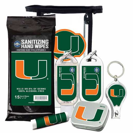 FL-UM-6PPK: Miami Hurricanes Fan Kit with Mint Tin- Clippers- Sanitizer- Lip Balm- Sunscreen- Wipes