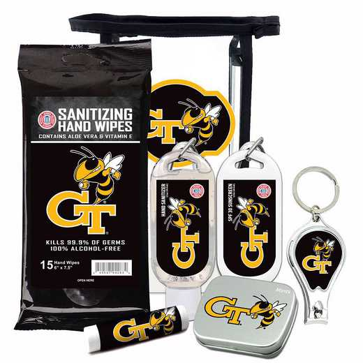 GA-GT-6PPK: Georgia Tech Yellow Jackets Fan Kit with Mint Tin- Clippers- Sanitizer- Lip Balm- Sunscreen- Wipes