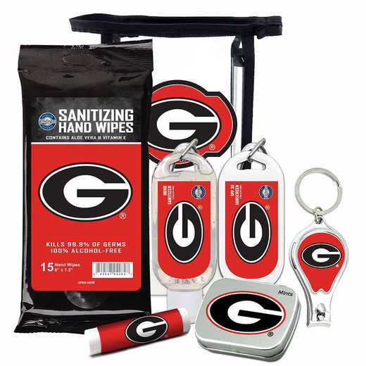 GA-UGA-6PPK: Georgia Bulldogs Fan Kit with Mint Tin- Clippers- Sanitizer- Lip Balm- Sunscreen- Wipes