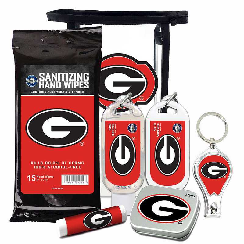 GA-UGA-6PPK: Georgia Bulldogs Fan Kit with Mint Tin- Clippers- Sanitizer- Lip Balm- Sunscreen- Wipes
