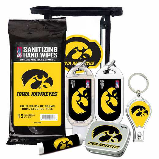 IA-UI-6PPK: Iowa Hawkeyes Fan Kit with Mint Tin- Clippers- Sanitizer- Lip Balm- Sunscreen- Wipes