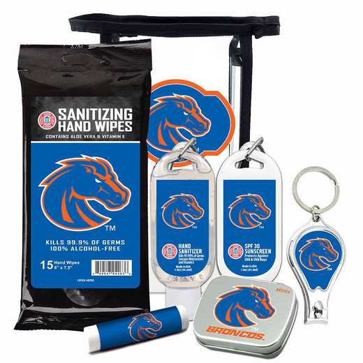 ID-BSU-6PPK: Boise State Broncos Fan Kit with Mint Tin- Clippers- Sanitizer- Lip Balm- Sunscreen- Wipes