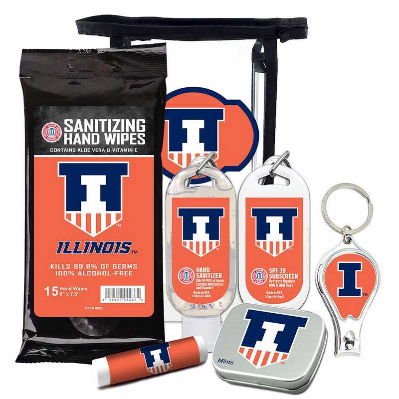 IL-UI-6PPK: Illinois Fighting Illini Fan Kit with Mint Tin- Clippers- Sanitizer- Lip Balm- Sunscreen- Wipes