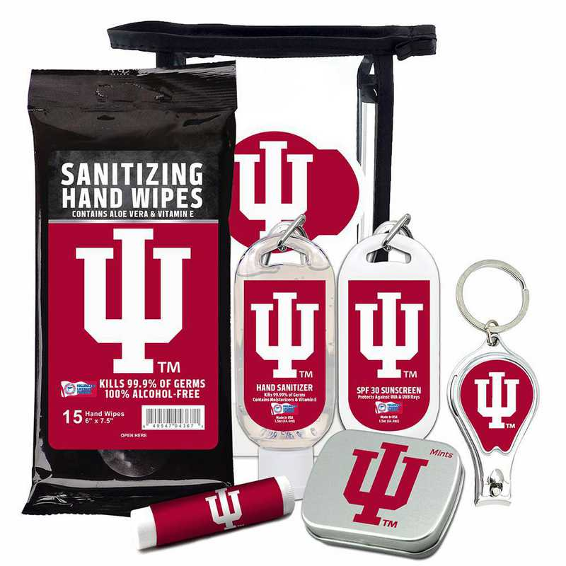 IN-IU-6PPK: Indiana Hoosiers Fan Kit with Mint Tin- Clippers- Sanitizer- Lip Balm- Sunscreen- Wipes