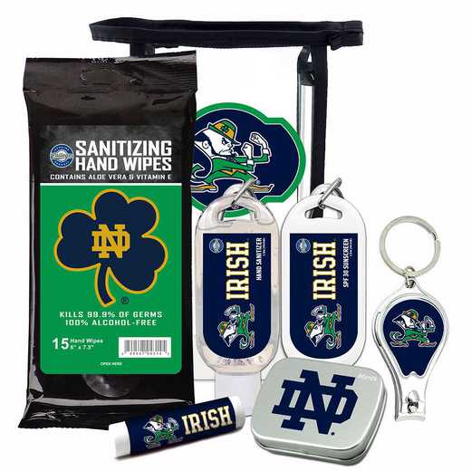 IN-UND-6PPK: Notre Dame Fighting Irish Fan Kit with Mint Tin- Clippers- Sanitizer- Lip Balm- Sunscreen- Wipes