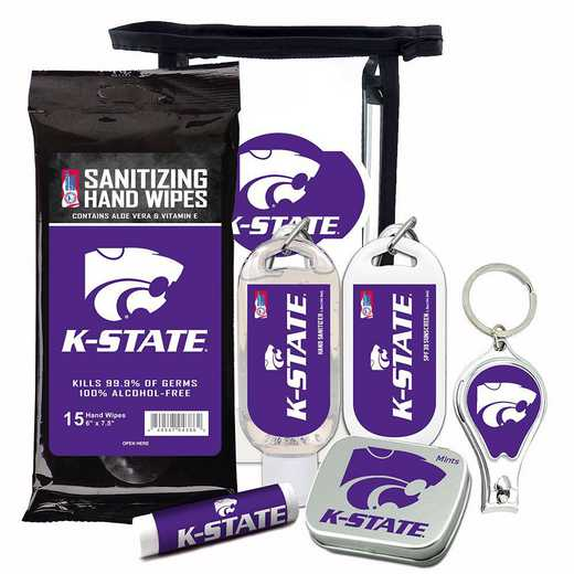 KS-KSU-6PPK: Kansas State Wildcats Fan Kit with Mint Tin- Clippers- Sanitizer- Lip Balm- Sunscreen- Wipes