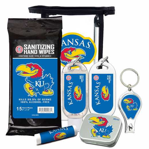 KS-KU-6PPK: Kansas Jayhawks Fan Kit with Mint Tin- Clippers- Sanitizer- Lip Balm- Sunscreen- Wipes