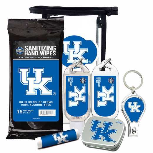 KY-UK-6PPK: Kentucky Wildcats Fan Kit with Mint Tin- Clippers- Sanitizer- Lip Balm- Sunscreen- Wipes