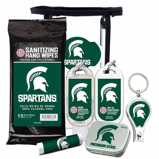 MI-MSU-6PPK: Michigan State Spartans Fan Kit with Mint Tin- Clippers- Sanitizer- Lip Balm- Sunscreen- Wipes