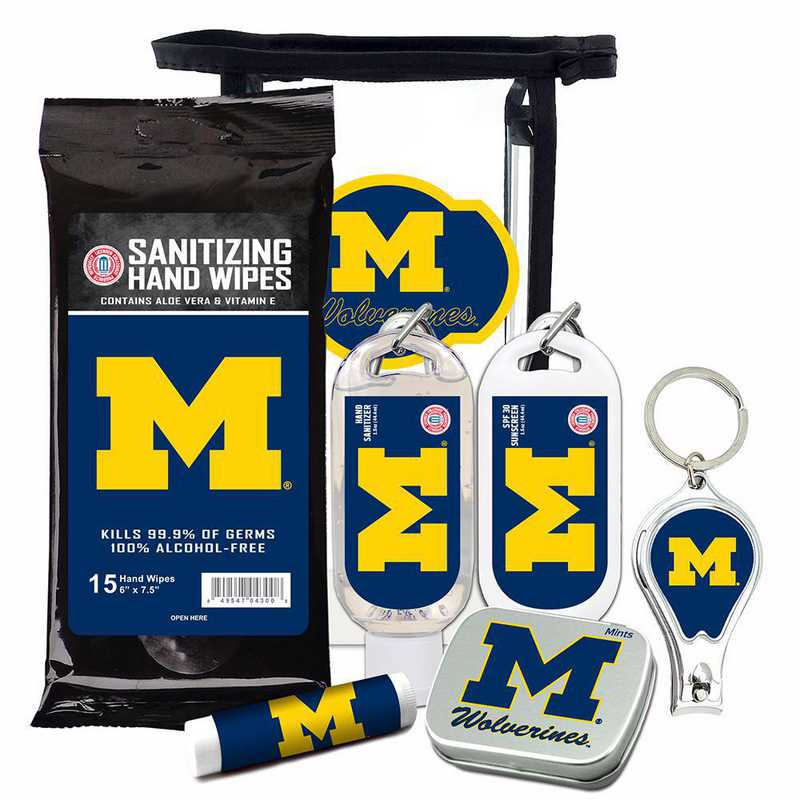 MI-UM-6PPK: Michigan Wolverines Fan Kit with Mint Tin- Clippers- Sanitizer- Lip Balm- Sunscreen- Wipes